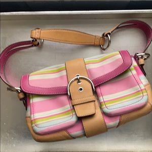 COACH SOHO  twill striped shoulder bag